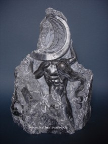 """Atlas"", steatite and glass, 40 cm"