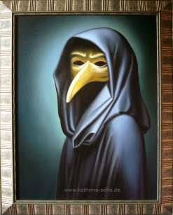 """""""No One Can Wear a Mask for Long."""", oil on canvas, 90 x 70 cm"""